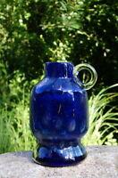 wunderschöne alte Eisch Glas Vase Pfauenauge signiert Henkelvase Sammlerstück