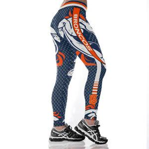 Denver Broncos Women Legging Digital Printed High Waist Wide Belt Yoga Pants New