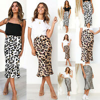 Women's Sexy Summer Leopard Printed Slim Fit High Waist Bodycon Midi Skirt Dress