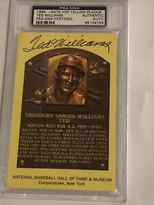 SIGNED Auto HOF Plaque Yellow Postcard TED WILLIAMS PSA/DNA AUTHENTIC