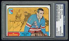 Ed Giacomin #67 signed autograph auto 1968 Topps Hockey Card PSA Slabbed