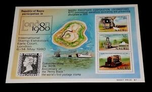 NAURU #216a 1980, LONDON 80, SOUVENIR SHEET, MNH, NICE! LQQK