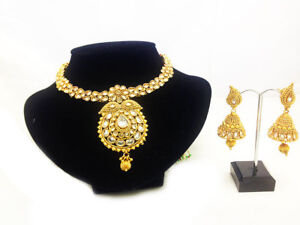 BRIDAL JEWELRY NECKLACE EARRING CHOKER SET INDIAN BRASS GOLD PLATED WEDDING SET