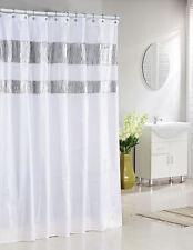 "Pure White Fabric Shower Curtain: Silver Metallic Accent Stripes 72"" W x 78"" L"