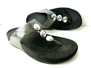FITFLOPS US 9M 475-054 Petra Pewter Jeweled Thong Wedge Sandals Shoes
