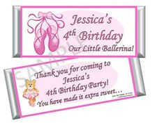 Ballerina/Ballet Dance Candy Bar Wrappers - Birthday Party Favors Set of 12