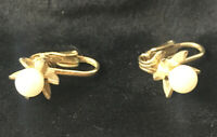Vintage Clip On Earrings Gold Tone Floral Starburst Pearl Center Costume Jewelry