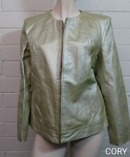 DIALOGUE JACKET Size L LEATHER PISTACHIO GREEN PEARLIZED ZIP FRONT PEARL SHIMMER