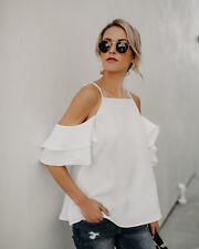 Fashion Summer Women Casual Chiffon Off Shoulder Lady T Shirts Loose Tops Blouse