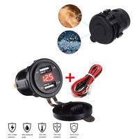 3.1A 12V-24V Dual USB Red LED Voltmeter Charger Socket  for Motorcycle Car Boat