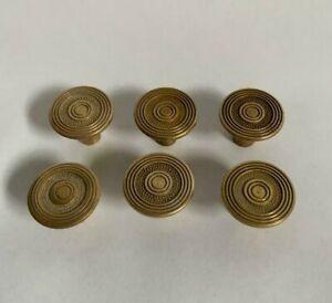 Set of 6 Solid Brass Antique Vintage Drawer Pull Handles Knobs  #IM1409