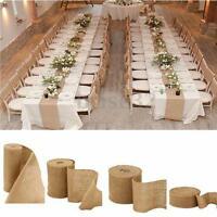5M Vintage Table Runner Jute Burlap Hessian Ribbon Wedding Party Craft Decor