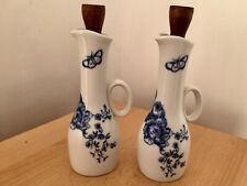 Royal Worcester Rhapsody Blue & White oil and vinegar porcelain jugs
