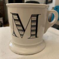 "Anthropologie Monogram ""M"" Coffee Mug Initial Alphabet Cup Shaving White Black"