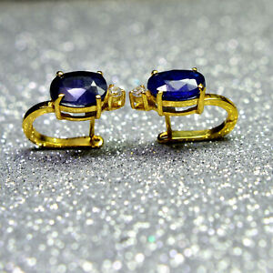 Blue Sapphire Faceted Oval Gemstone 925 Sterling Silver Gold Plated Earrings