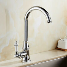 Traditional Swivel Goose-neck Kitchen Sink Faucet Vessel Tap Water Mixer Handle