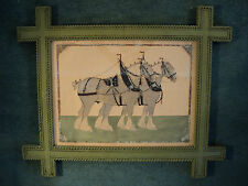 William Robbie Folk Art Painting of Draft Horses Clydesdales in Tramp Art Frame