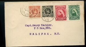 1897 four stamp franking, to Capt. Henry Hechler Halifax, NS, cover Canada