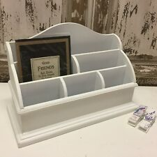 Large White Wood Letter Rack Desk Organiser Vintage Chic Mail Post Table Storage