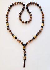 Men's Handmade Necklace With Natural Tiger Eye,Onyx Gemstones.