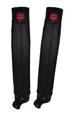 BLACK LEATHER 2X FRONT SEAT BELT SKIN  COVERSFITS TOYOTA LAND CRUISER PRADO LJ70
