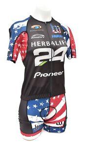 Wattie Ink Herbalife 24 Short Slv Cycling Kit Women MEDIUM Stars Stripes Hoka
