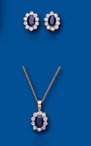 Gold Sapphire Pendant & Earrings Set Solid Yellow Gold Cluster Hallmarked