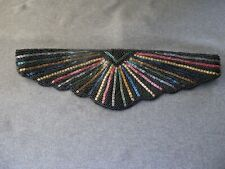 Vintage 80's Marshall Fields & Co embroidery colors beads black silk belt