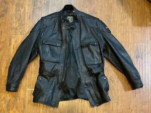 HEIN GERICKE Leather Jacket SIZE 40 Vintage Black Heavy Motorcycle Biker Large