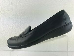 Clarks Bendables 35590 Womens Dark Green Leather Slip On Loafer Size 11W