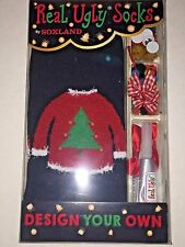 Christmas Holiday Real Ugly Socks Sweater Sock Do It Yourself Box Kit NEW!