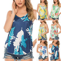 Womens Boho Tank Top Vest Sleeveless Loose Summer Beach Casual T-Shirt Blouse US