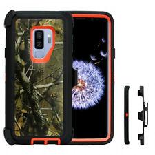 For Samsung Galaxy S9 Case (Belt Clip Holster Fits Otterbox Defender)Orange Pine
