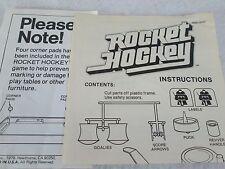 Vintage 1978 Mattel Rocket Hockey game instruction sheet only