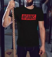 Gains Bodybuilding Mens Workout Shirt Men Fitness T Shirt Gym Saying Graphic Tee
