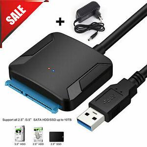 """SATA zu USB 3.0 Adapter für 2.5"""" / 3.5"""" SATA Festplatte HDD SSD Konverter Kabel"""