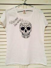 Camiseta estampada Calavera  frases español Tshirt Tallas S M L XL Blanco