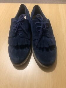 Clarks Somerset Fringed Blue Navy Suede Brogue Oxford Shoes Size 7
