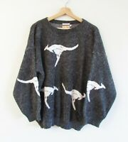 Fun Knitz Womens Sz L Vintage 80s Grey White Kangaroo Fuzzy Knit Sweater Jumper
