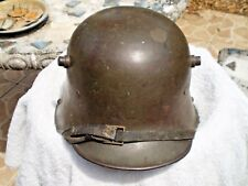 WW1 German steel helmet M17 original liner, paint and chinstrap, Si62