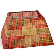 Premier Christmas Box Style Fabric Tree Skirt - Red & Gold Tartan Design