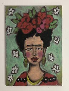 Original 'Frida Kahlo' Portrait Painting Green Flowers Feminine artwork