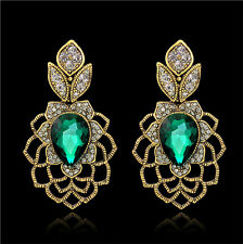 Vintage Drop Emerald Green Austrian Rhinestone Crystal Dangle Earrings Prom E13