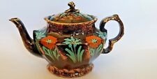 Late 19th century Black Glazed Hand Painted Teapot - Unusual Design