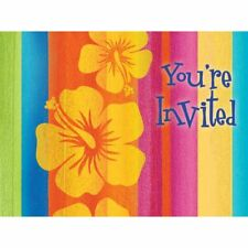 Hawaiian Luau Party Sunset Stripes Post Card Invitations 8 Pack