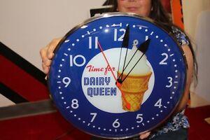 "Dairy Queen Ice Cream Restaurant Gas Oil 15"" Lighted Metal Pam Clock Sign"