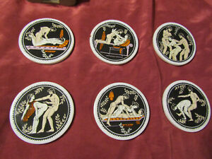 Vintage Ancient Roman Erotic Porcelain Coasters Collectible from ITALY