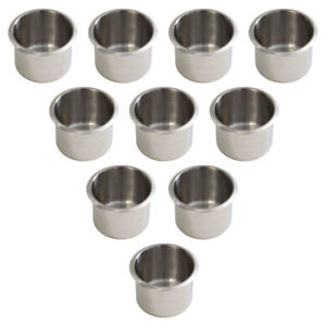 10-Pack of Small Stainless Steel Cup Holder For Poker Table and Boat & RV Car