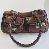 "Bingham Saddle Shoulder Bag Embossed ""Crocodile""  Braided Rope Strap Heart Trim"