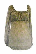OLIAN Maternity Women's Green Floral Print Empire Waist Tunic Top XS $98 NWT